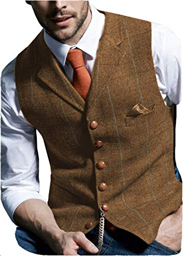 Solove-Suit Herren Casual Plaid Anzugweste Tweed Slim Fit Weste for Hochzeits-Trauzeugen(Braun,S)