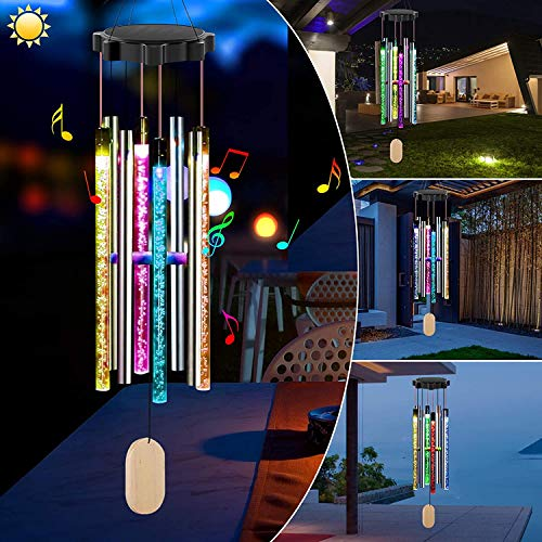 BGYVNU Solar Powered Musical Wind Chimes, Solar Powered Memorial Wind Chimes with Lights Waterproof LED Wind Chimes for Outside for Home Garden Yard Porch Decor