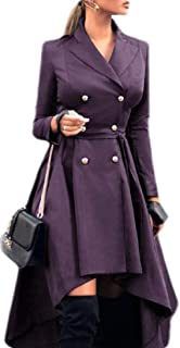 Women Double Breasted Long Sleeve High Low Hem Trench Coat Windbreaker