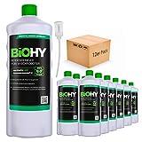 BiOHY Detersivo per pavimenti per robot di pulizia (12 bottiglie da 1l) + Distributore | Concentrato per tutti i robot di pulizia e aspirazione (Bodenreiniger für Wischroboter)