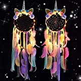 VENROII Unicorn Dream Catcher Craft Kits Cute Girls Pink Room Decor Purple Dream Catchers with Colorful Feathers for Teens Kids Adults Girls Bedroom Light Up Dreamcatchers (Set of 2)