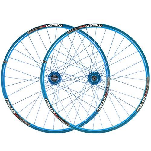 ZNND 26 Pulgadas Rueda Trasera Delantera Juego Rueda Bicicleta Ultraligero 951g/1126g Freno Disco Llanta Doble Pared por 7 8 9 10 Velocidad Volante Cassette (Color : Blue)