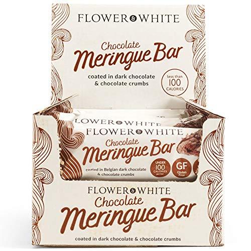 Flower & White Barra de Merengue de Chocolate (Caja de 12) Sin Gluten Bajo en Grasas Menos de 100 Calorías