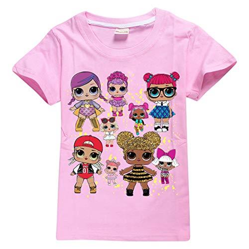 Mädchen T-Shirt Mit LOL Dolls Rocker, BFF Fancy & Fresh, Diva, Swag, Leading Baby Kinder Baumwoll Top (8377pink, 130(5-6Jahre))