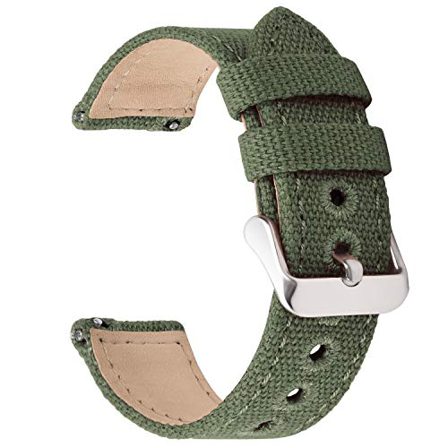 Fullmosa Uhrenarmband 20mm in 8 Farben, Stoff Leinen mit Mattleder Uhrenarmband Uhr Ersatzband mit Schnellverschluss für Mann&Damen,Armeegrün 20mm