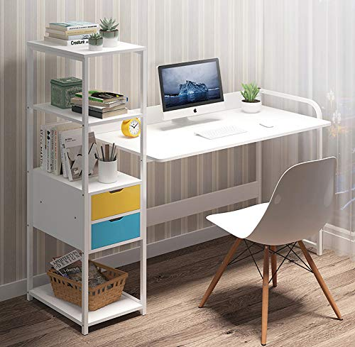 GORVELL Computer Desk with 2 Drawers Shelves Storage Cabinet,Home Office Writing Study Laptop PC Wood Workstation, L110x W40 x H91cm
