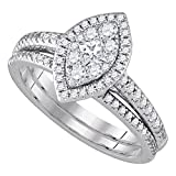 Sonia Jewels Size 10-14K White Gold Princess Cut & Round Diamond Halo Circle Bridal Engagement Ring & Matching Wedding Band Two Piece Set - Prong Set Marquise Center Setting Shape (.72 cttw.)