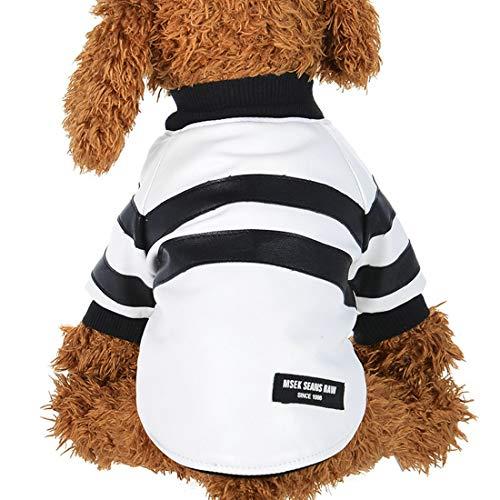 NoNoNo Wonyieruk puppy huisdier hemd hondenkleding T-shirt herfst en herfst leer waterdicht windjack overall (kleur: wit, maat: XS)