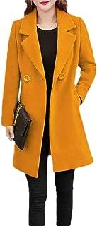 Macondoo Women's Thick Woolen Blend Lapel Collar Outwear Pea Coats