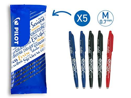 PILOT FriXion Ball, radierbarer Tintenroller, 5er Set (Blau, Schwarz, Rot)