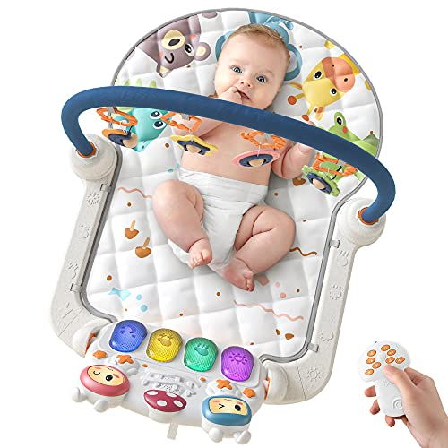 TUMAMA Baby Play mats Gyms with Wireless Remote Control,Baby Musical Sleep Soothing Playmats,Floor Play Kick & Piano Activity Toys for Infant Gifts Sets for 0-6 6-9 Months