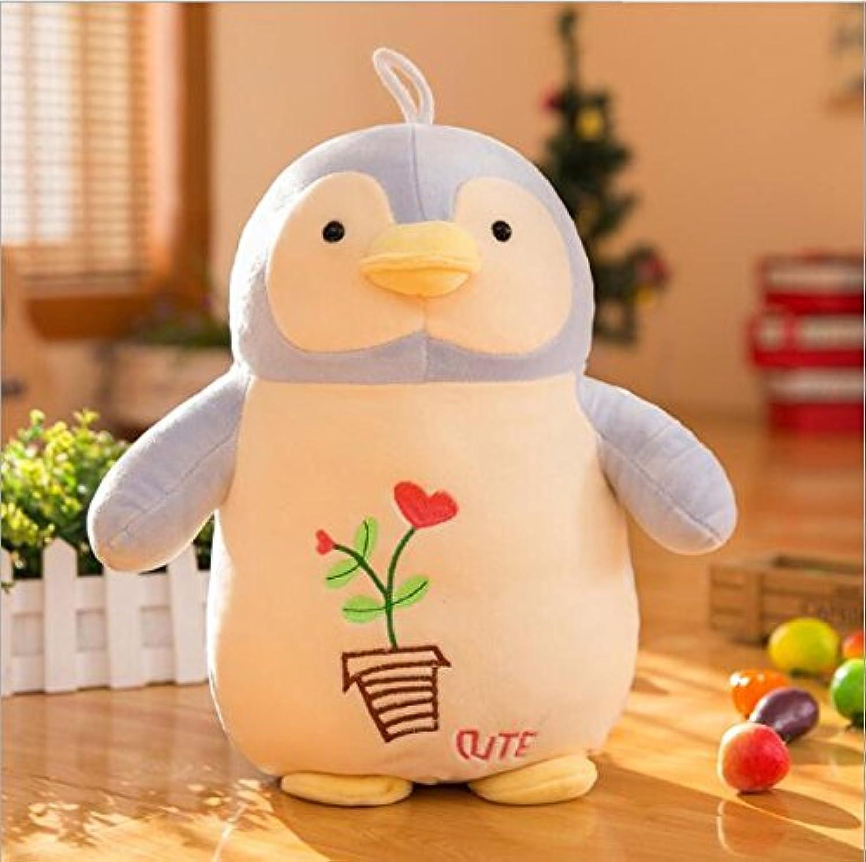 HuaQingPiJu-JP 愛らしいペンギンの柔らかいぬいぐるみのぬいぐるみアニメ動物キッドドールギフト(ライトブルー、30センチメートル)