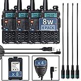 TIDRADIO TD-F9GP Ham Radio Handheld Upgraded UV5R High Power Radio 2 Way Radio with Driver Free Programming Cable(4Pack-Black)
