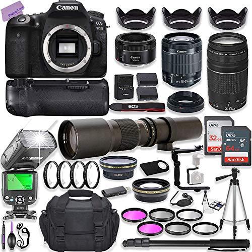 Canon EOS 90D DSLR Camera w  18-55mm Lens Bundle + Canon 75-300mm III Lens, Canon 50mm f 1.8 & 500mm Preset Lens + Camera Case + 96GB Memory + Battery Grip + Speedlight Flash + Professional Bundle