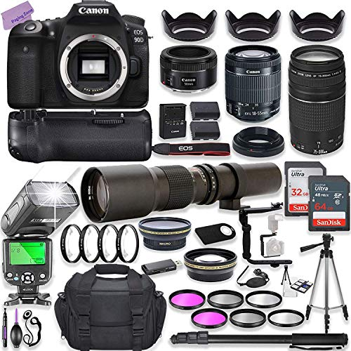 Canon EOS 90D DSLR Camera w/ 18-55mm Lens Bundle + Canon 75-300mm III Lens, Canon 50mm f/1.8 & 500mm Preset Lens + Camera Case + 96GB Memory + Battery Grip + Speedlight Flash + Professional Bundle