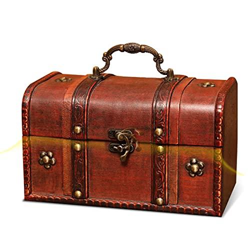 Cofre del tesoro pirata con cerradura de hierro, madera y cuero, con cerradura