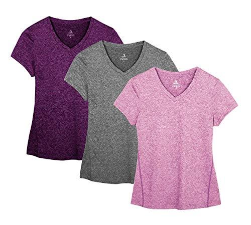 icyzone Damen Sport Fitness T-Shirt Kurzarm V-Ausschnitt Laufshirt Shortsleeve Yoga Top 3er Pack (L, Charcoal/Red Bud/Pink)