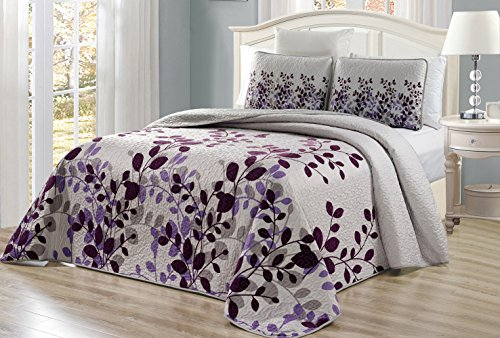 3-Piece Fine Printed Oversize (100' X 95') Fresca Quilt Set Reversible Bedspread Coverlet Queen Size Bed Cover (Purple, Grey, Vine)
