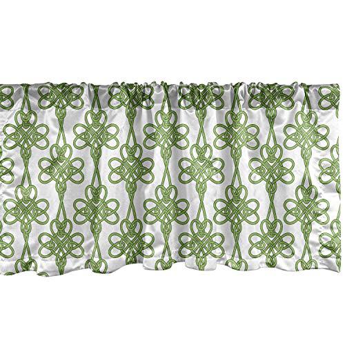 Lunarable Celtic Window Valance, St. Patrick's Day Theme Celtic Knots Lucky Clover Design Pattern Irish Theme Print, Curtain Valance for Kitchen Bedroom Decor with Rod Pocket, 54' X 12', White Green