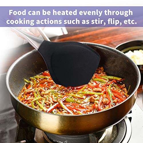 YYP Espátula wok de silicona, antiadherente flexible con mango de acero inoxidable duradero, pala de cocina para pescado, huevos, tortillas, panqueques, hamburguesas, 33,4 cm