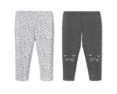 Lamaze Organic Baby Baby Pull On 2 Pack Leggings, Grey Kittie/White Dots, 24 Months