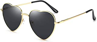 Heart Sunglasses Thin Metal Frame Lovely Heart Style for...
