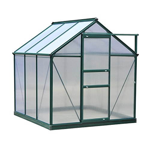 Outsunny Clear Polycarbonate Greenhouse Large Walk-In Green House Garden Plants Grow Galvanized Base Aluminium Frame w/Slide Door (6 x 6ft)