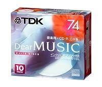 TDK CD-R 音楽用 74分 日本製 ホワイトディスク インクジェットプリンタ対応(ワイド) 10枚パック CD-RDE74PWX10N