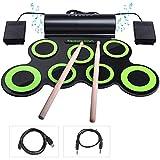 Set de batería electrónica, Rueda for Arriba un Juego de batería con los Auriculares y Altavoces incorporados, Pedales del Tambor y Palillos de Tiempo, portátil Práctica Tambor del Juego