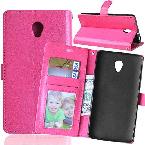 Funda Lenovo S860,Bookstyle 3 Card Slot PU Cuero Cartera para TPU Silicone Case Cover-Rosa Rojo