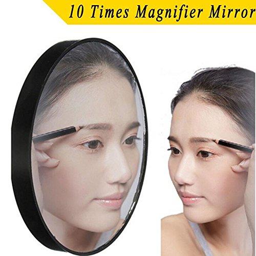 wlgreatsp Nouveau Loupe Miroir 10X Maquillage Rasage Compact Cosmétique Soins Tasses Noir