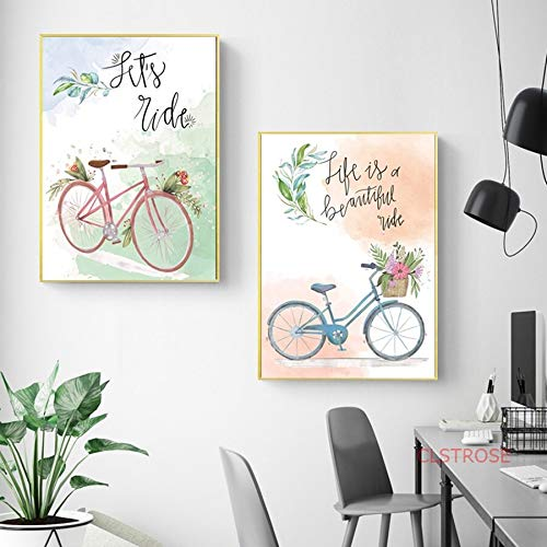 YuanMinglu Nordic Dekoration Poster Fahrrad Garten frische modulare Landschaft wandkunst leinwand mädchen raumdekoration malerei rahmenlose 30x40 cm