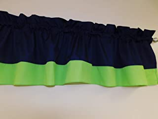 Navy Blue and Lime Green Solid Color valance curtain Two tones combo colored, Window treatment decor, Kids, children, basement, nursery, baby boy nursery Custom Rod pocket 58 wide.