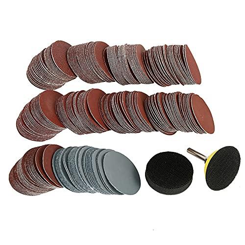 300 discos de lija de óxido de aluminio de 50 mm, disco de lijado adhesivo de óxido de aluminio, grano 80/100/180/240/600/800/1000/1200/2000/3000