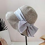 Elegante sombrero de paja de ganchillo hecho a mano japonés sombrero de protección solar de verano femenino sombrero de cuenca de gasa sombrero de pescador salvaje-gris