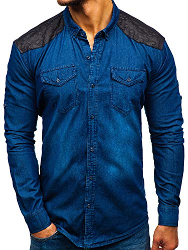 BOLF Herren Hemd Langarm Jeanshemd Button-Down Kragen Slim Fit Casual Style Madmext 0517 Dunkelblau M [2B2]