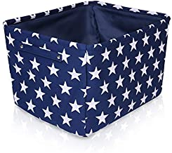 Blue Star Canvas Storage Basket Box for Household Storage with White Stars. 16.5in x 12.5in x 7.5in