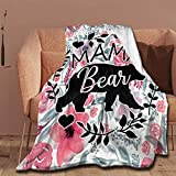 NIUJINMALI Mama Bear Throw Blanket Super Soft Warm and Comfortable Fleece Blanket 50x40 Inch for Kid for Bed Sofa Chair Office Gift