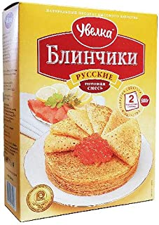 Uvelka Classic Pancakes (Russian Bliny), 100% Natural, Ready mix for baking, 17.6 Ounce / 500 Gram