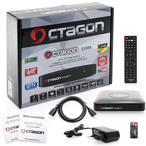 Octagon SX888 H265 Mini Récepteur IPTV avec Stalker, m3u Playliste, VOD, Xtream, WebTV [USB, HDMI, LAN] Full HD