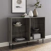 Walker Edison 48 Inch Mid Century Modern Bookcase with Glass Shelving (Slate Gray)