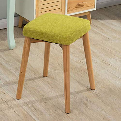 CJC Heces Vanity Stool, massief hout, make-uptafel, gevoerd, eetkamerstoelen, pianostoel, multifunctioneel
