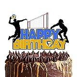 Volleyball Theme HAPPY BIRTHDAY Cake Topper,Sport Theme Birthday Anniversary Party Cake Decoration,Volleyball Player Sports Sign Cake Decor,Blue yellow Print, Silver Glitter Edge