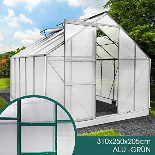 BRAST Gewächshaus Aluminium mit Fundament rostfrei 310x250x205 Grün 6mm Platten Alu Treibhaus Glashaus Tomatenhaus