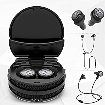 Motorola Tech3 3-in-1 Smart True Wireless Headphones - Cordless Earbuds Sport Wire Audio Plug-in - IPX5 Built-in Microphone Magnetic Charging Case with Cable Storage System - Titanium Black