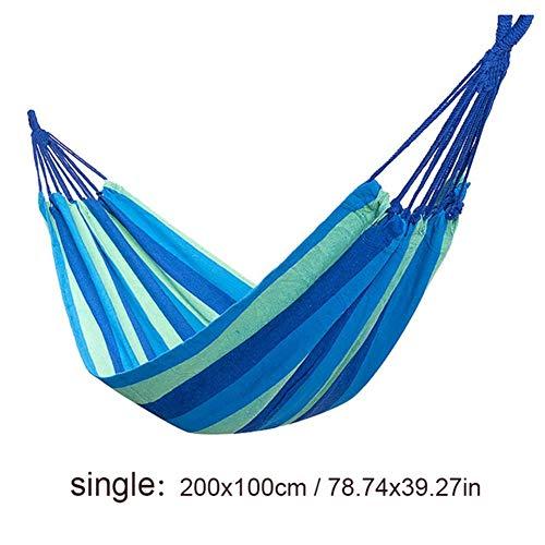 Haute Qualité Simple/Double 200x150cm Jardin Balançoires Extérieur Camping Hamac Chaise Hanging Lit Portable Confortable (Color : BLUE STRIPE005)