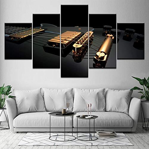Guitarra Dorada Y Negra, 5 Piezas, Fondos De Pantalla HD, Im