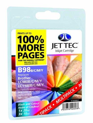 Jettec Wiederaufgefüllt Tintenpatrone Ersatz für Brother LC980/LC1100 Vierer Patrone Mehrfachpackung