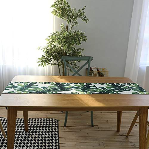 BeesClover Digitale Bedrukking Katoen Linnen Palm Leaf Monstera Blad Groen Blad Tafelkleed Tafelloper Placenmat Home Decoratie