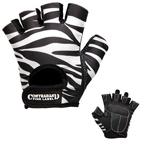 Contraband Pink Label 5277 Womens Design Series Zebra Print Lifting Gloves (Pair) - Lightweight Vegan Medium Padded Microfiber Amara Leather w/Griplock Silicone (White/Black, Small)